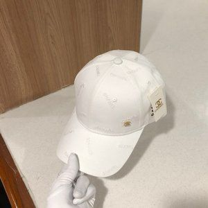 New Chanel Ladies Embroidered Baseball hats White
